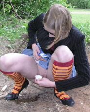 Preview Dirty Public Nudity - Blonde nerdy teen taking a pee and wiping it clean