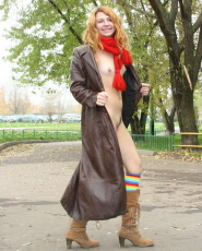 Preview Dirty Public Nudity - Redhead bitch in shawl and long coat got no undies