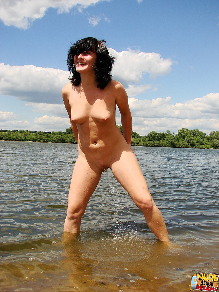 Girls beach naked cute peeing